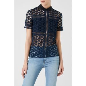 NWT Self Portrait Navy Repeat Star Blouse 6